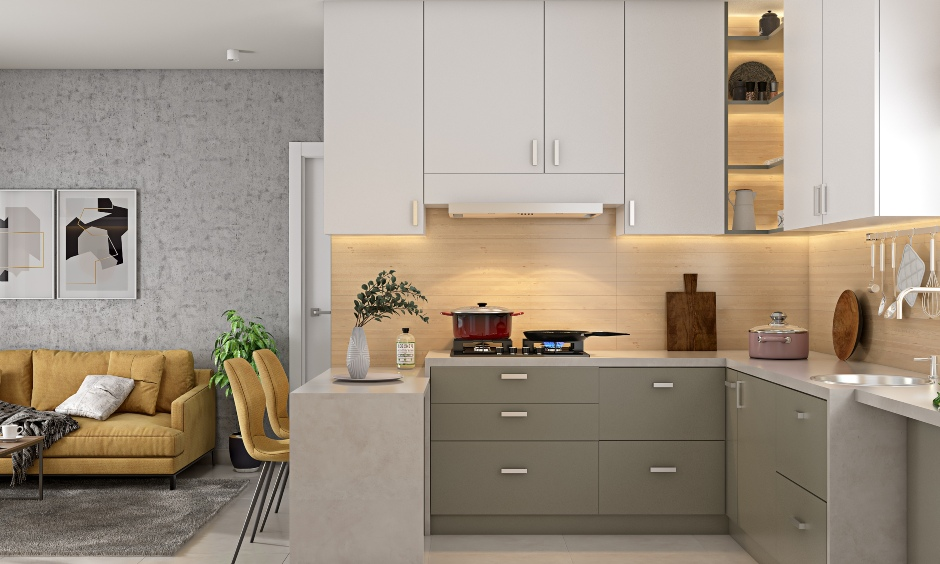 Modern 2bhk house design with open kitchen in grey and white with marble flooring