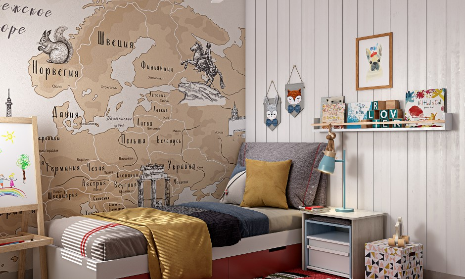 Modern 2bhk house kids bedroom with map wallpaper decorates on wall and white wall panelling