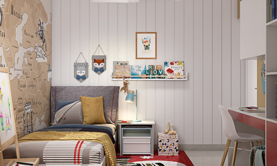 Modern 2bhk house kids room design with red and white colour scheme