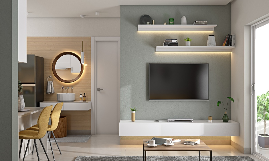 Modern 2bhk house living room with minimalistic style tv unit