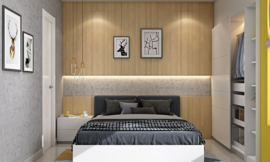 Modern 2bhk house master bedroom design with wood finished wall