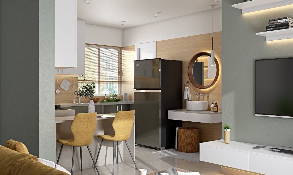 Modern 2bhk kitchen design with breakfast countertop with two tall chairs