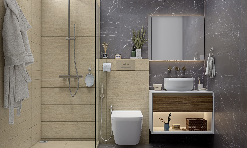 Small bathroom design with wood finished floating vanity unit in modern 2bhk home