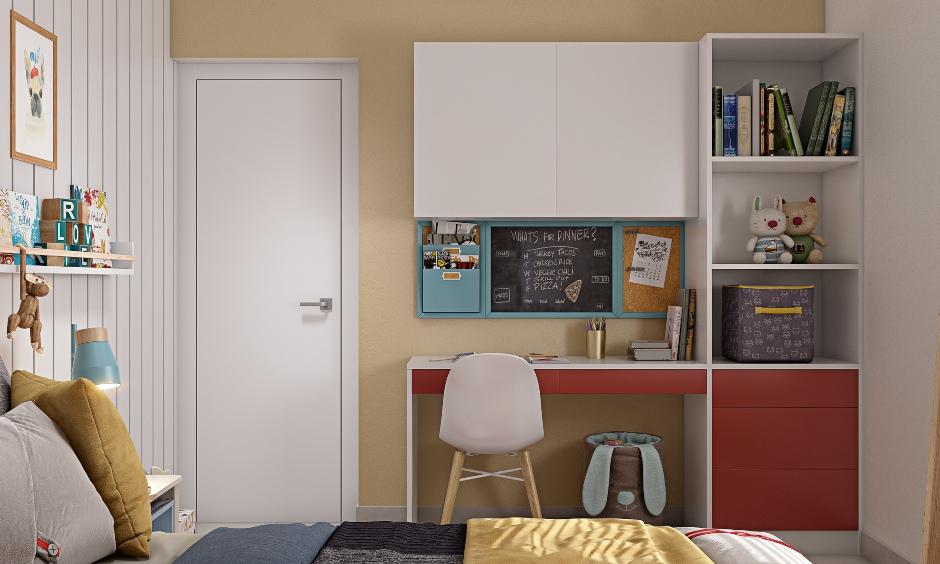 Study unit with open shelves drawers and overhead cabinets for kids bedroom in 2bhk modern homes