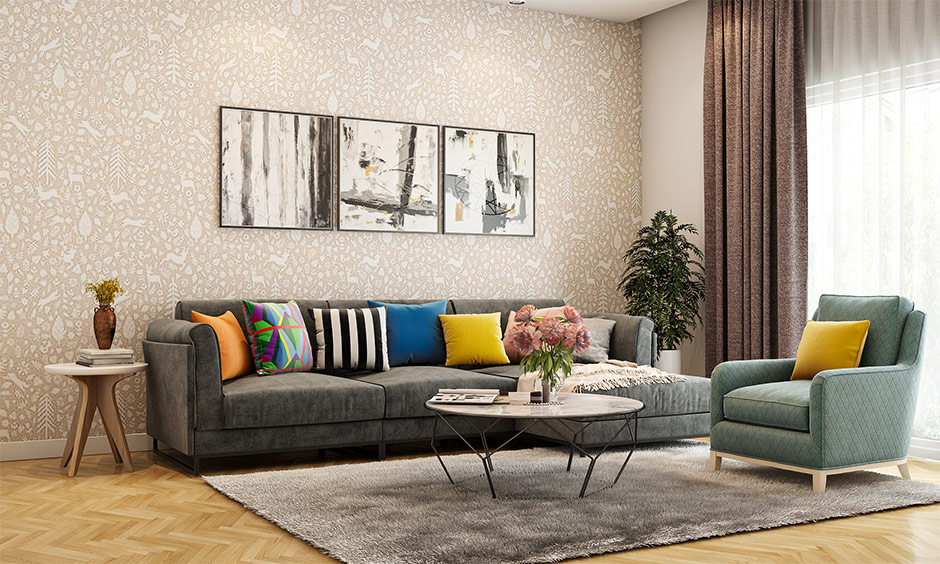 Natural wooden tiles for living room lends a warm and welcoming feel to the area.