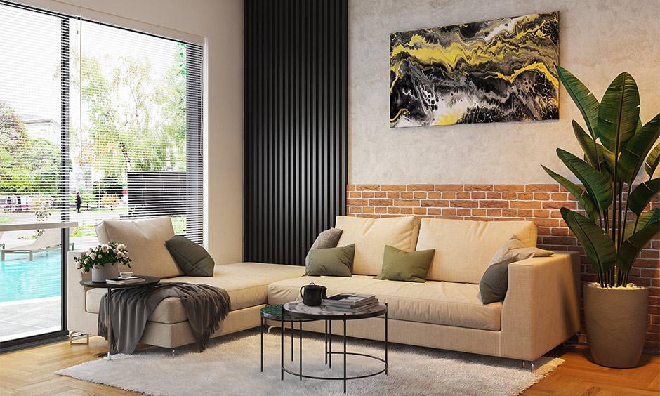 Wood finish tiles for living room in sleek geometrical design creates eye-catching.