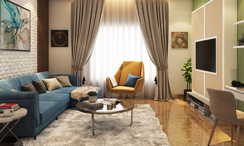 Living room wooden floor tiles in vintage design give the area a rich and spacious look.