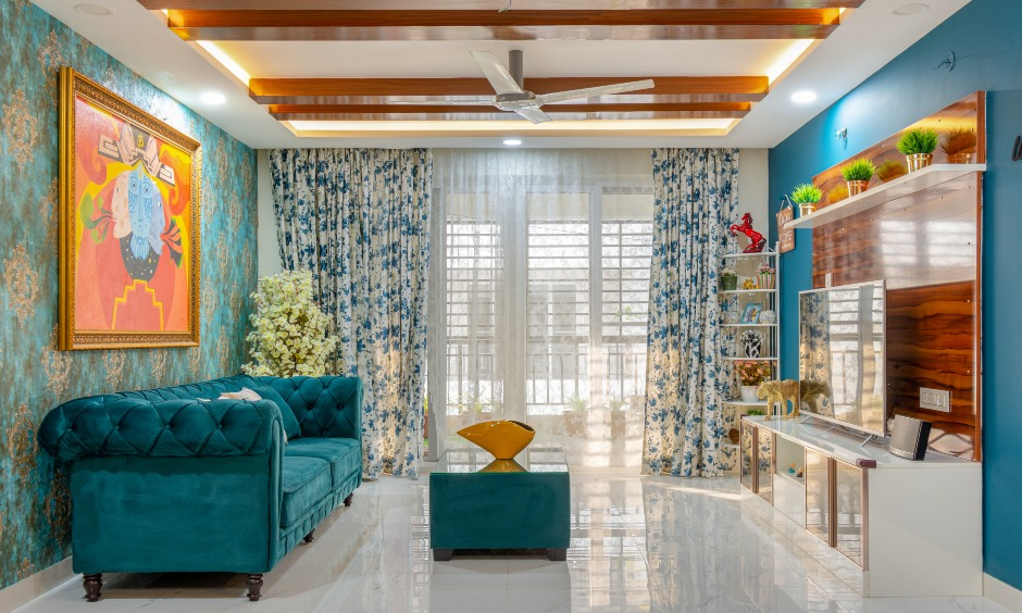 Living room designed by famous interior designers in hyderabad