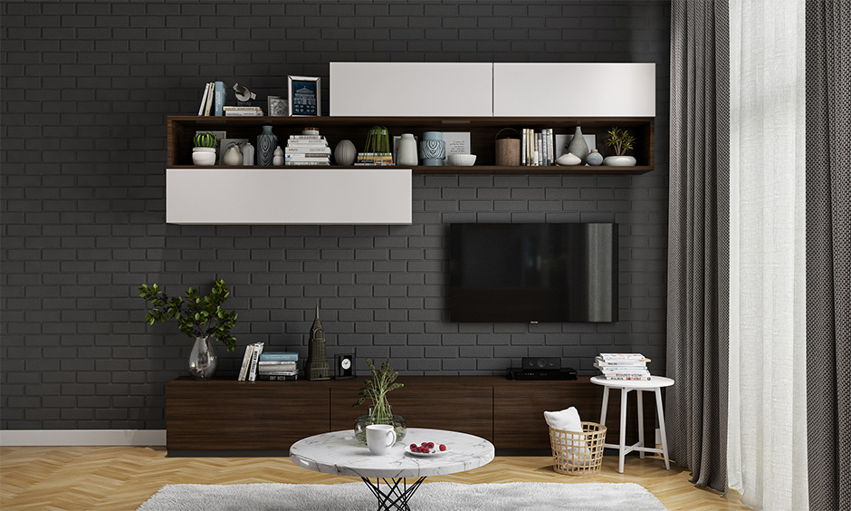 Living room wall mounted tv cabinet in industrial style and has a floating shelf.