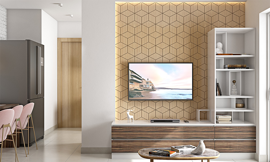 Modern wall mount tv cabinet in Scandinavian style with LED strip lighting brings in character to living room's interiors.