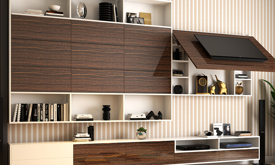 Wall-mounted tv cabinet design with hidden storage space and open shelves looks sleek.