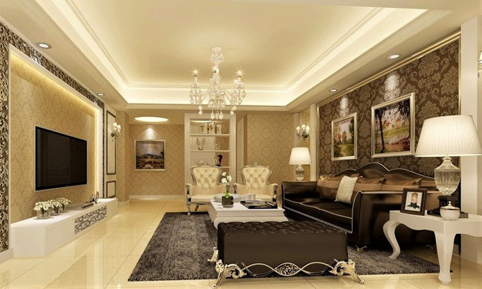 Elegant home decor for the family room decorated with crystal chandelier and classic sofa set looks luxurious.