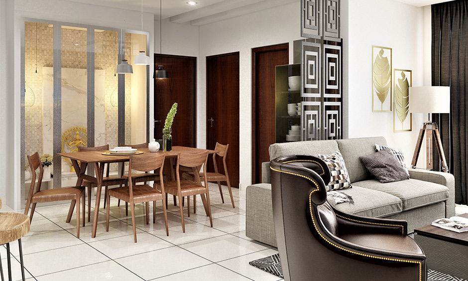 The dining room in a simple and elegant home decorated pair of pendant lights and wooden dining table set brings warmth.
