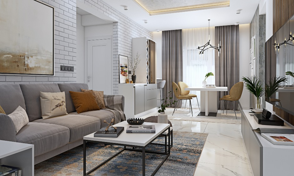 3 bhk flat design with living cum dining area look luxurious