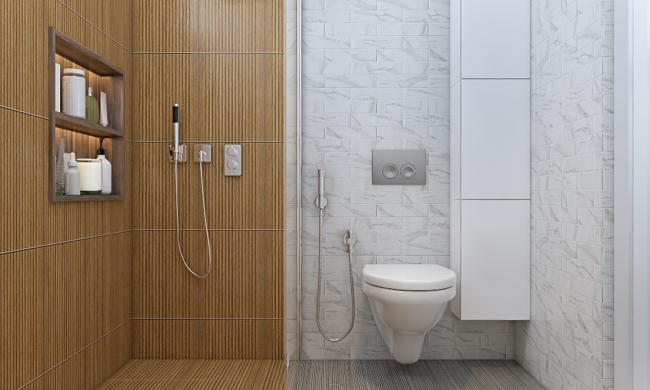 3 bhk home bathroom design with white tile and wood alike tile in minimalist