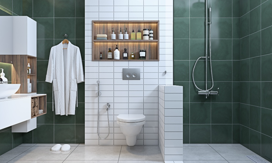 bathroom with green and white tiles on wall design for 3 bhk home