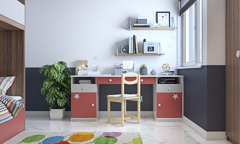 Simple study table design with wall shelves for kids bedroom in 3 bhk flat