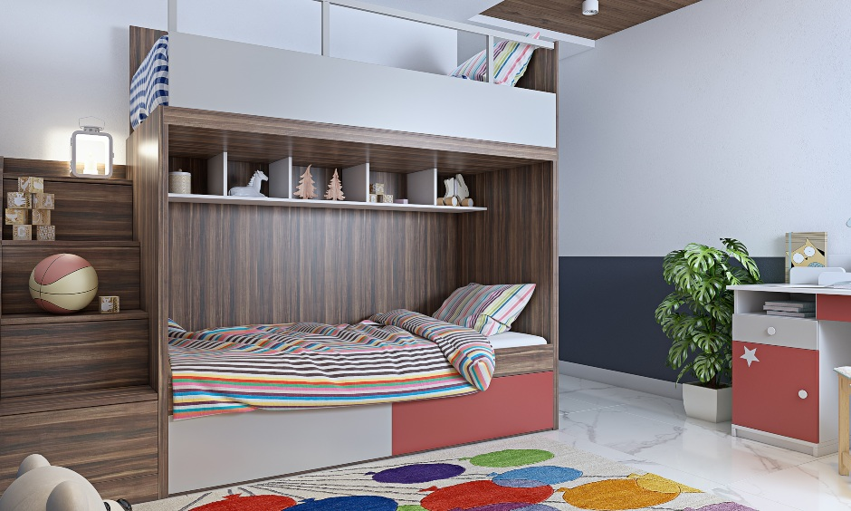3 bhk house, wooden bunk bed design with stairs lends modern look