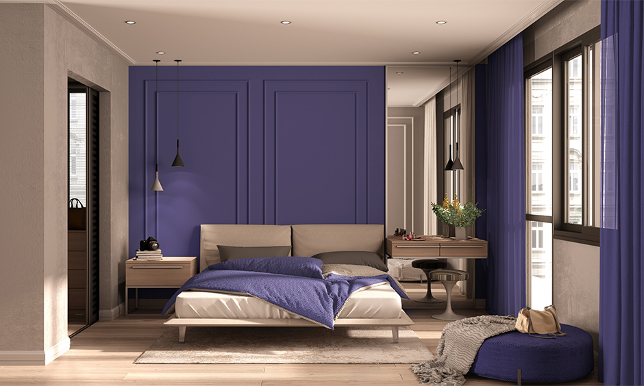Purple two colour combination for bedroom walls
