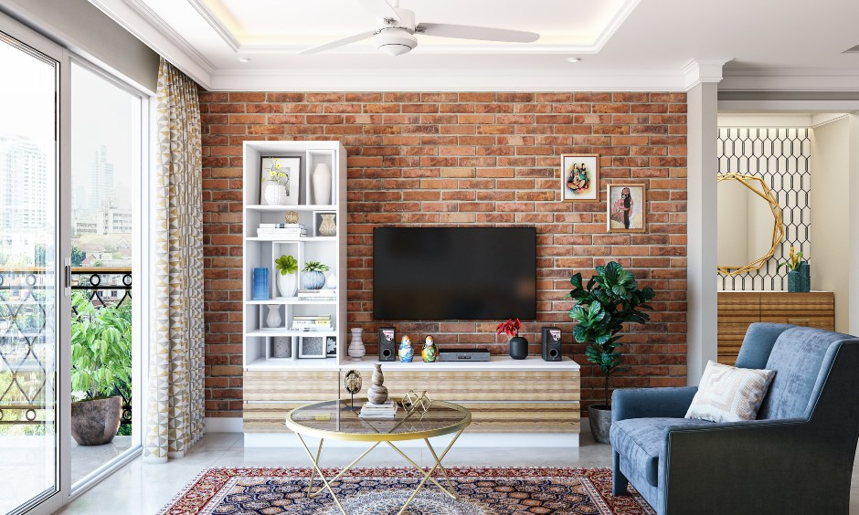 Living room 3bhk interior design with brick wall cladding and laminated tv unit look rustic