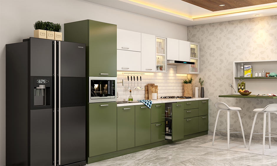 Space saving straight versatile olive green and white themed  kitchen design