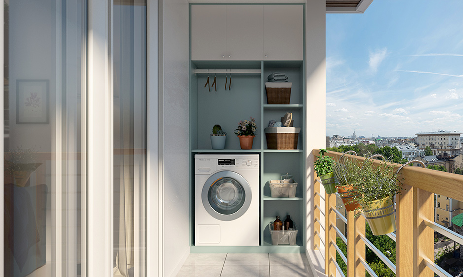 laundry room design in balcony for your home