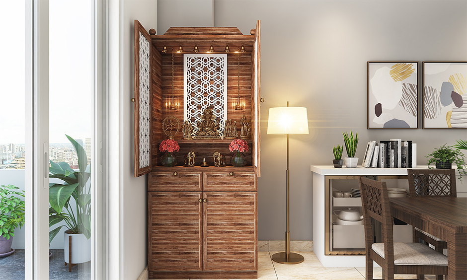 Interior design for pooja room wall units which an integral part of Indian homes