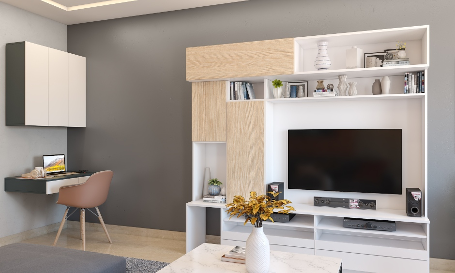 Living room interior design with white laminated tv unit comes with several storage shelves and cabinets