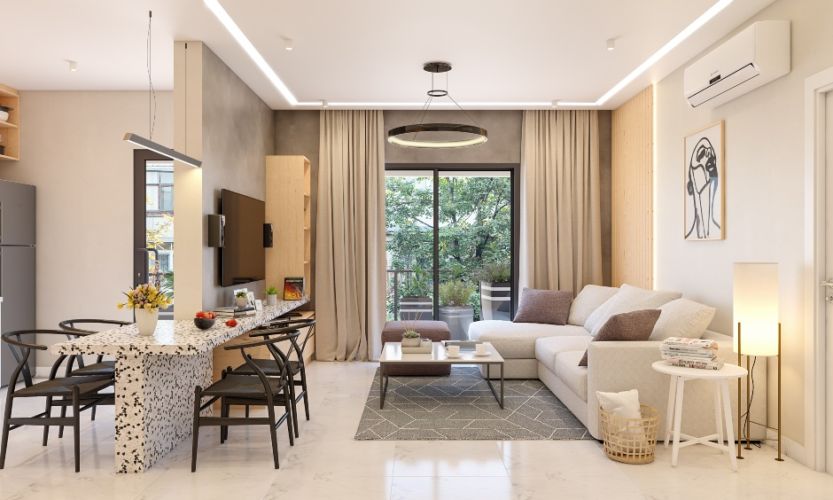 Living room interior design with l shaped sofa with white laminate center table, wall mounted tv unit and dining partition