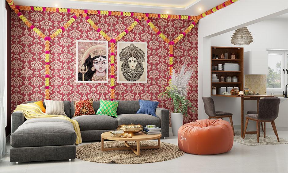 durga puja decoration at home